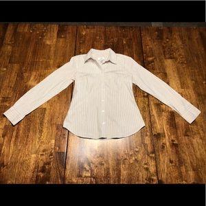 Sharp! Ann Taylor LOFT Striped Dress Shirt sz 0